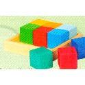 Klodser i kasse, 9 farvede kvadratiske