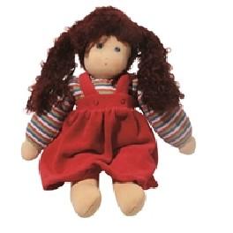 Dukke - rød kjole - ca 35 cm