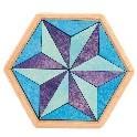 *Puslespil, sekskantet, blåligt - lille