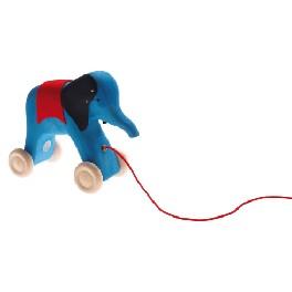 Elefant på hjul til at trække - blå