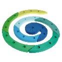 Fødselsdagslysestage spiral, blå-grøn