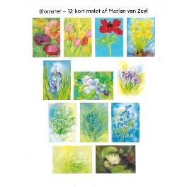 Blomster - 12 kort (postkort)