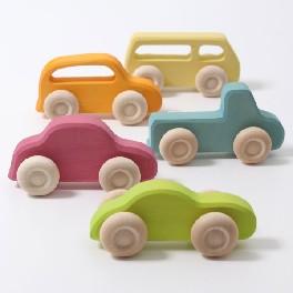 Bil i træ, farvet, slimline