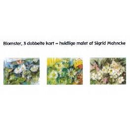 Blomster, 3 dobbeltkort - hvidlige